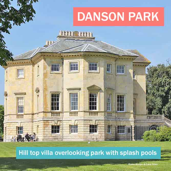 Danson Park - beautiful hilltop villa in south London park with playgrounds and splash parks