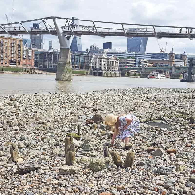 Mudlarking by the Thames at Blackfriars