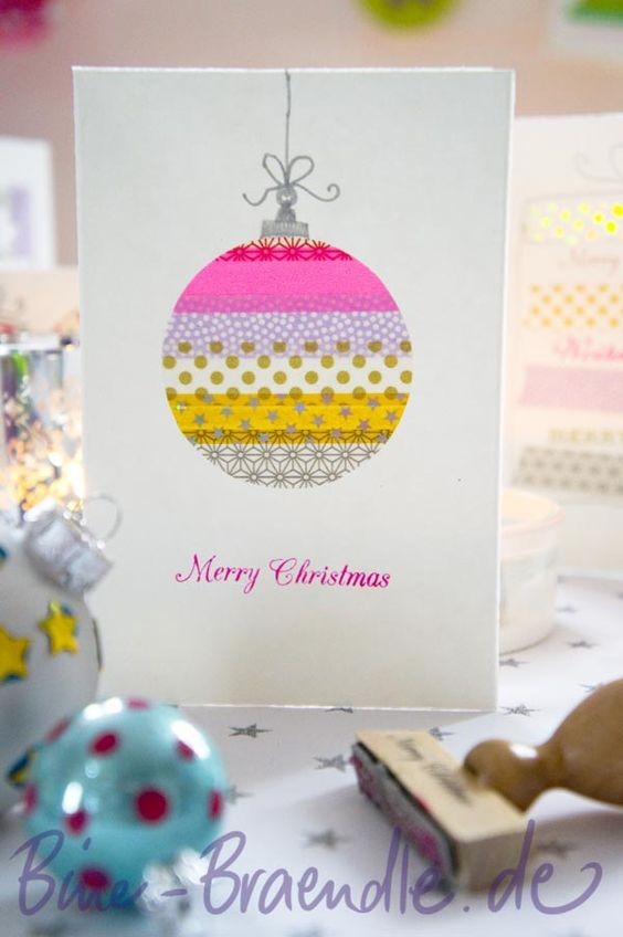 Homemade Christmas cards with washi tape