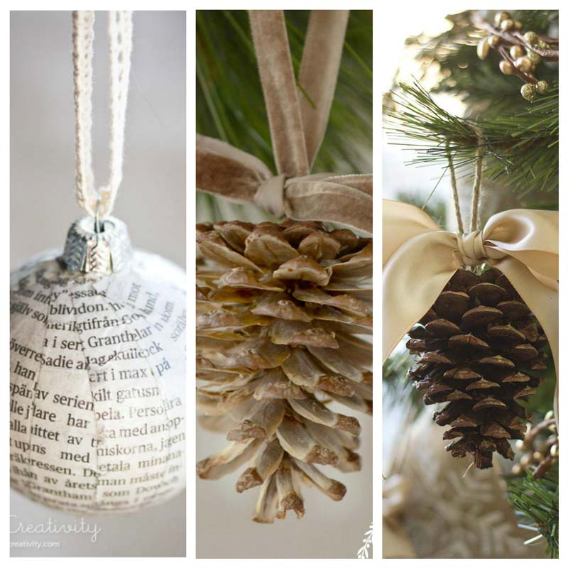 Simple DIY and homemade Christmas tree decorations