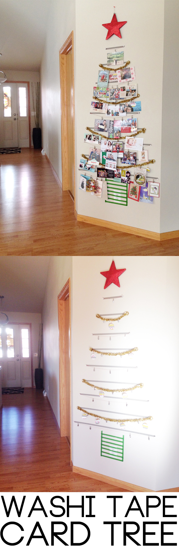 Christmas card display idea - simple DIY washi tape tree to stick on a wall or on a door to display Christmas cards. A great homemade Christmas card display idea that is easy to make and will take up less space than a traditional Christmas card holder