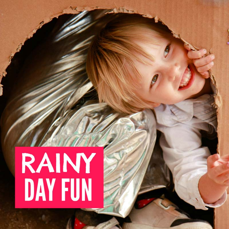 Rainy day activities for kids - a big list of things to do on a rainy day for boys and girls from toddlers and preschoolers to older teens. There's easy DIY fun scavenger hunts, crafts, games, projects, baking, art and science. Including cheap no mess ideas great for indoors and outdoors to burn off energy. Never be stuck by the nightmare parenting question of what to do on a rainy day again. #rainydays #rainydayactivities #kidsactivities #indooractivities #indoorgames #kidsgames #kidscrafts