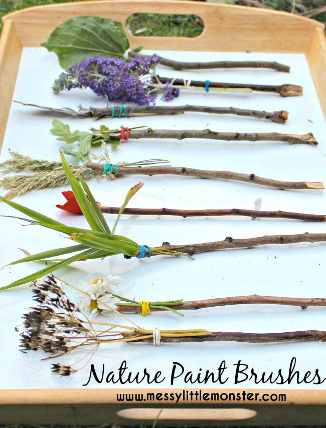 Summer hacks - nature paintbrushes