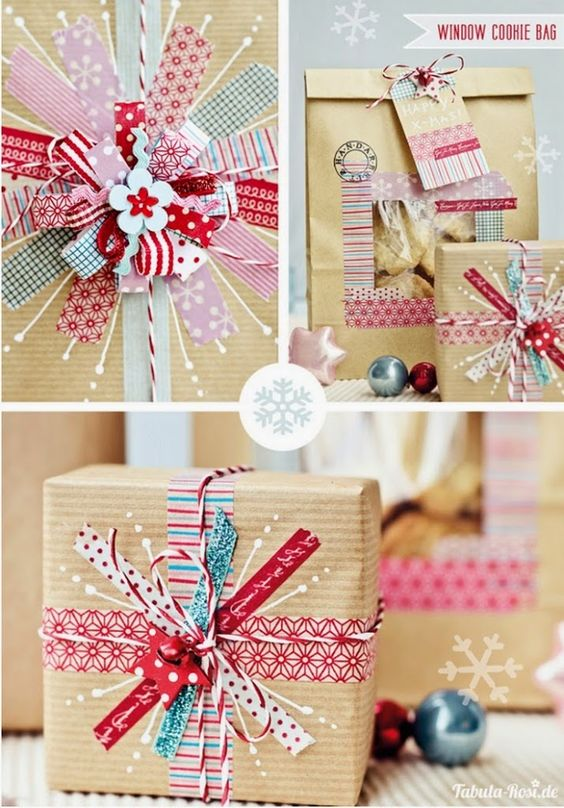 Awesome DIY Christmas gift wrap homemade with brown paper and pink and red washi tape #christmas #christamasgiftwrap #christmascrafts #brownpaper #washitape #christmasideas
