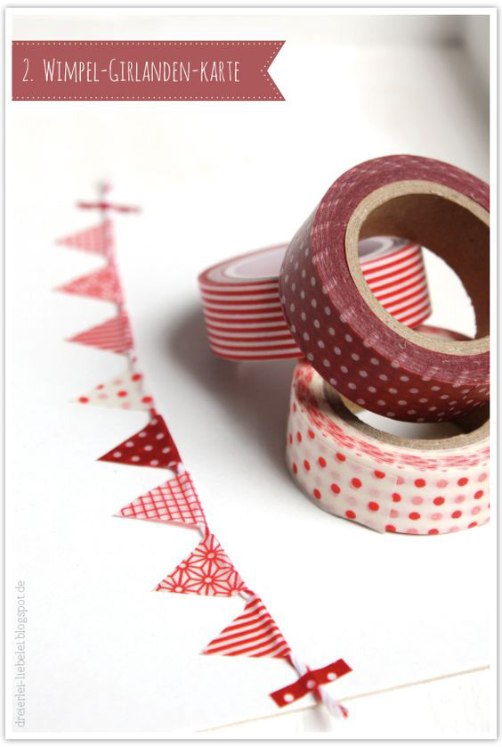 Homemade Christmas Bunting Idea - adorable DIY Christmas bunting made with paper and washi tape that would be perfect for a Scandinavian or shabby chic style Christmas decoration theme and easy to make at home with kids #christmasideas #christmas #bunting #washitape #christmascrafts #christmasdecorations