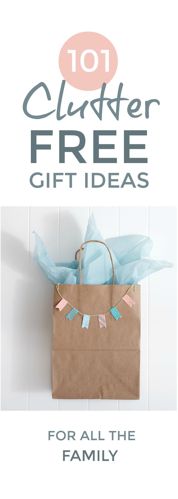 A big 2018 guide to unique clutter free christmas gift ideas for kids, men and women. Including awesome natural, eco friendly, sustainable & zero waste christmas gift ideas and simple DIY minimalist gifts & stocking stuffers. Plus cheap, money saving experience gifts if you're on a budget. For everyone from toddlers to teens, husbands and wives, grandparents and teachers. #christmasgifts #clutterfree #noclutter #ecofriendly #giftideas #giftlist #minimalist #moneysaving #presents