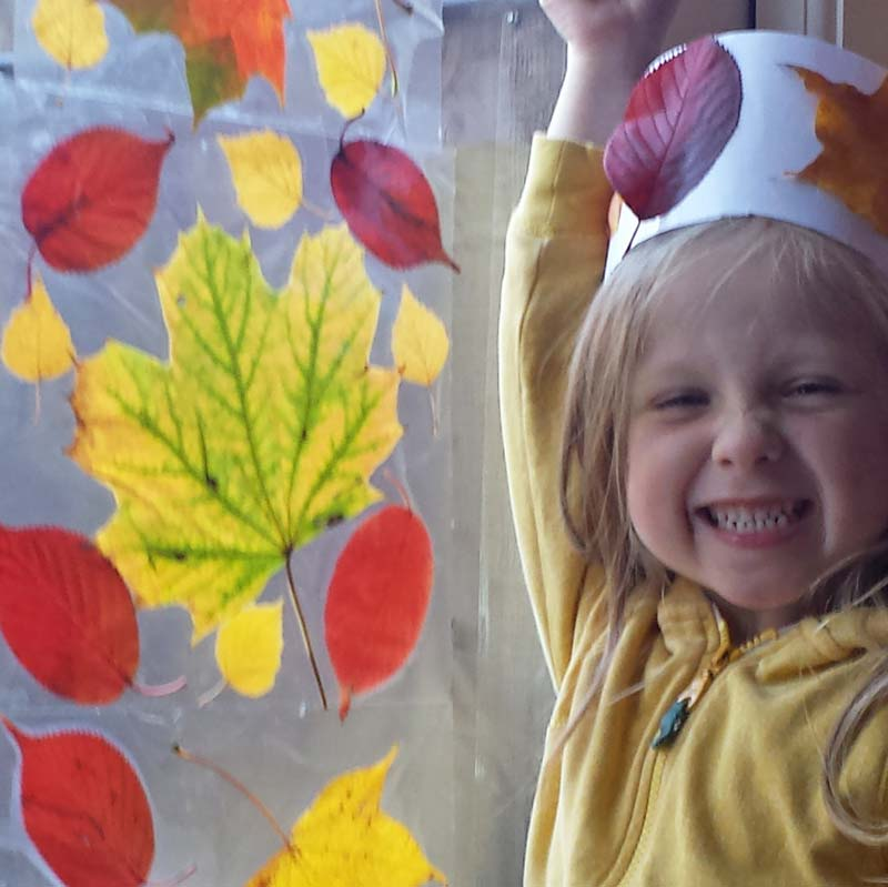 Leaf crafts - a simple leaf craft that helps kids appreciate the loveliness of autumn leaves and all the colours of Fall