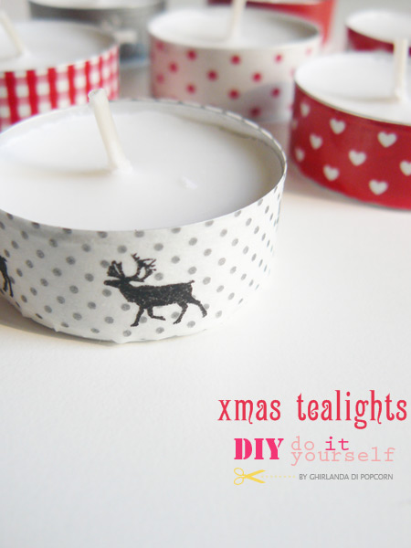 Christmas Light  - these Christmas tea lights are an easy homemade Christmas decoration you can make with kids using nothing more than washi tape #christmas #christmaslights #christmasdecorations #washitape #homemade #homemadechristmas