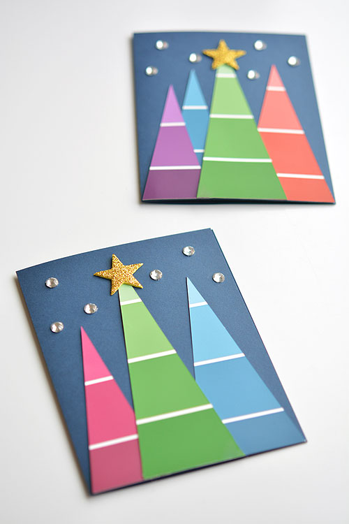 Christmas cards kids can make with paint chip cards #christmascards #paintchip