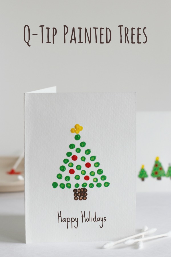 Christmas cards kids can make - paint trees with qtips #christmascards #qtip #christmastree