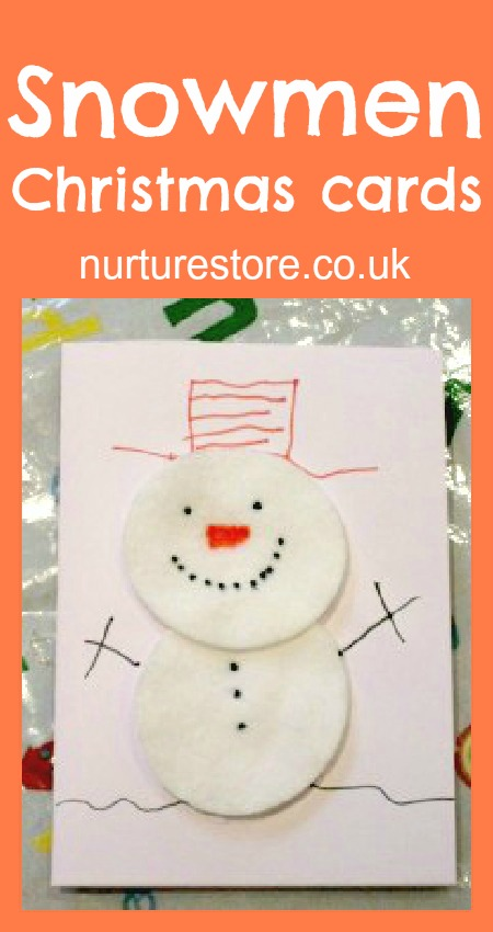 Christmas cards kids can make - cotton wool snowman #christmascards #snowman