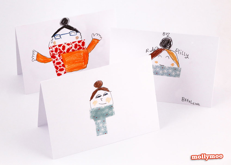 Christmas cards kids can make  - washi tape fun  #christmascards #washitape