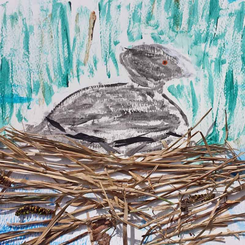 Bird nest collage - simple bird nest collages using water colour painting and natural resources are a great way for children to explore birds' habitats and nest building #birds #nests #painting #collage #nature #naturelover #habitat #STEAM