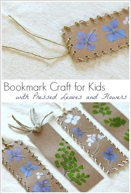 Flower crafts for kids - lovely pressed flower bookmarks that make perfect mother days presents #flowers #craftsforkids #mothersday