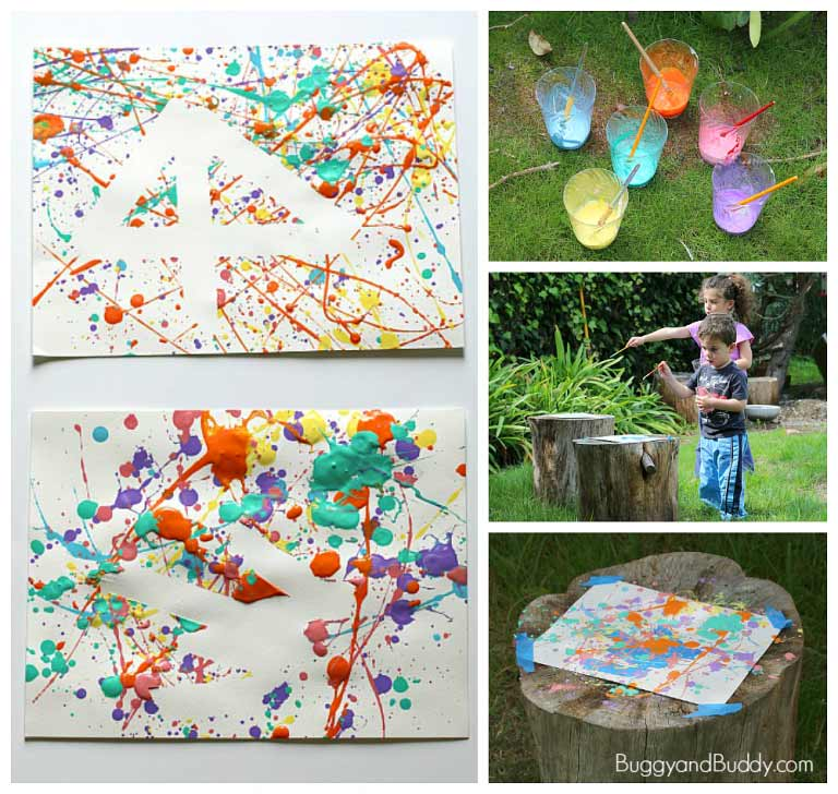 Painting outdoors - simple brilliant ideas to get outdoors and paint with kids without any complicated preparation #painting #processart #outdoors #letkidsbekids #creativekids #playoutdoors