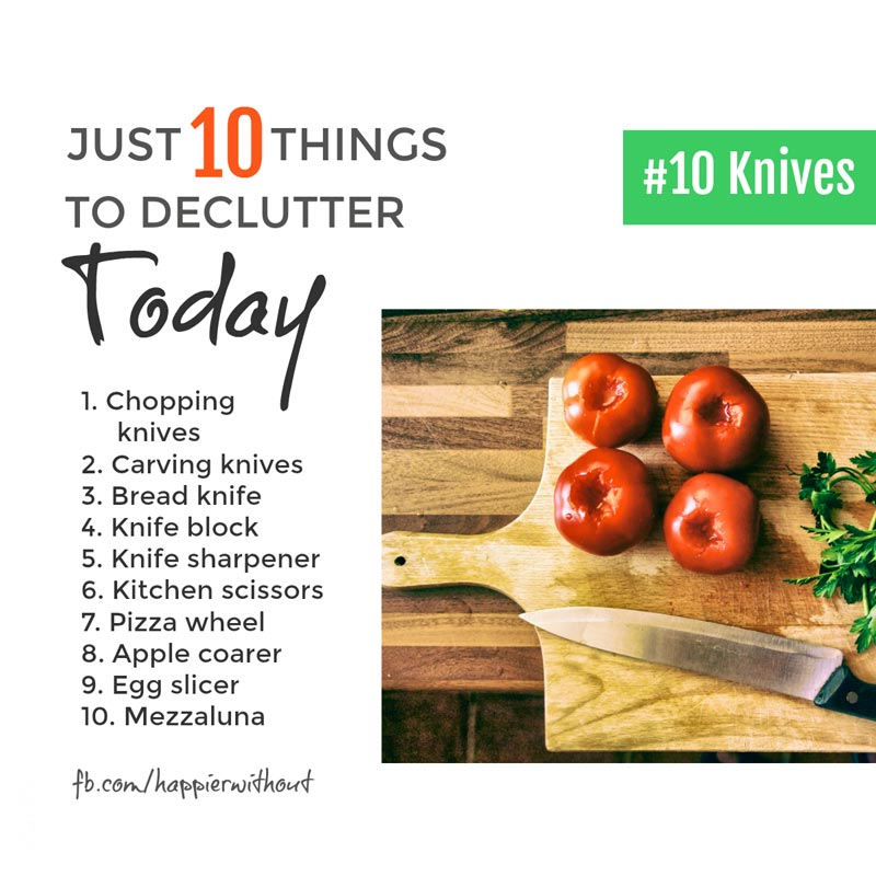 Why store kitchen knives and fancy scissors and slicers you never use? Let them go and create space ... #clutterfree #simplicity #organize #minimalism #just10things #happierwithout