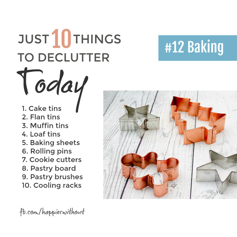 The secret to a great cake really doesn't lie in a cupboard full of tins in all sizes ... just keep a few and reclaim your kitchen cupboards #clutter #simple #organization #just10things #happierwithout