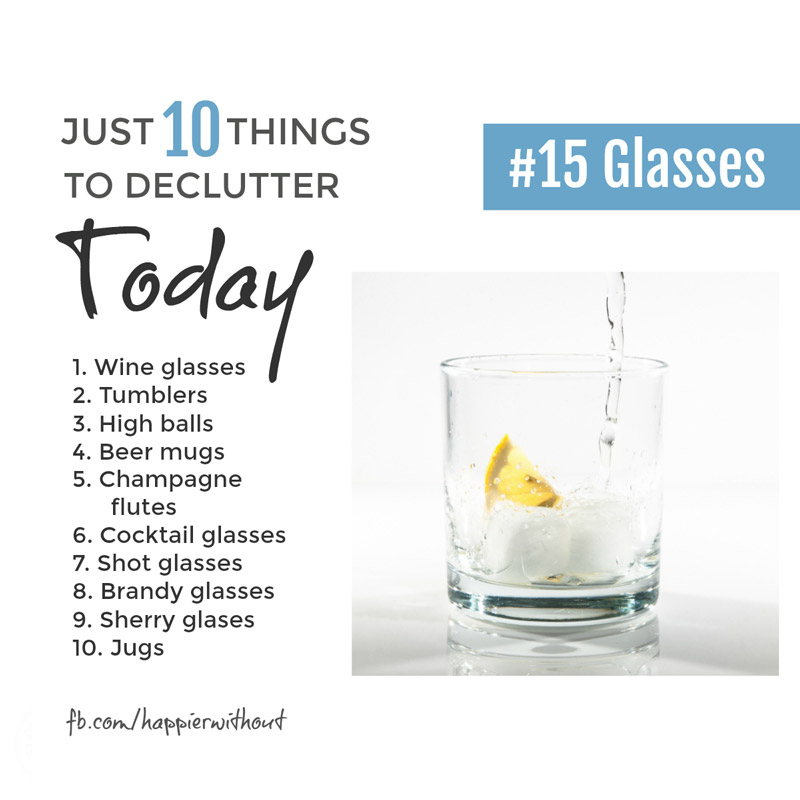 Week in, week out we just don't use all those different glasses do we? Keep a few special ones fine. But if we really needed a load for a party we could borrow them. Let some go ... #minimalism #simplified #livewithless #just10things #happierwithout