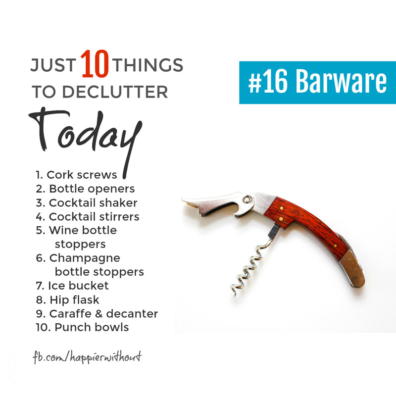 We really only do need one corkscrew! And if we've got more because some of them are a bit rubbish, then lets let go the rubbish ones ... #minimalism #declutter #organized #just10things #happierwithout
