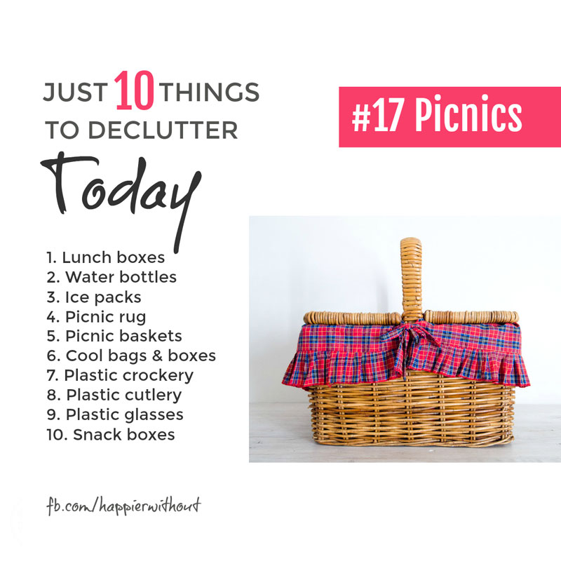 We only use them now and again but all those cool bags and boxes and picnic baskets and blankets sure do take up a load of space. Keep the essentials but let those little used extras go ... #simplify #organization #clutter #just10things #happierwithout
