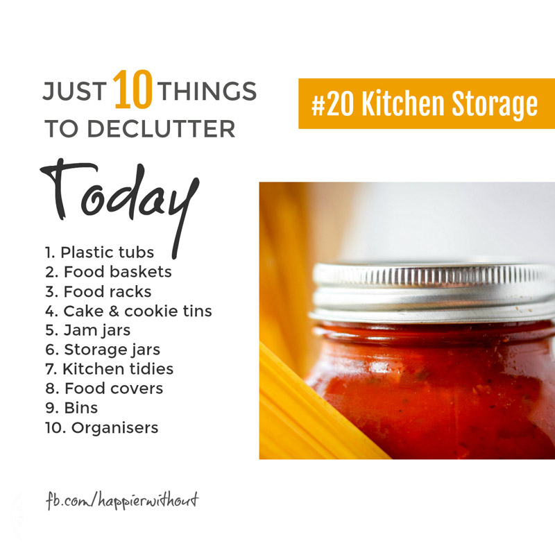 We've all collected so many clever storage solutions that we need storage for our storage! How crazy is that? If you're not using it, let it go ... #declutter #storage #organize #just10things #happierwithout