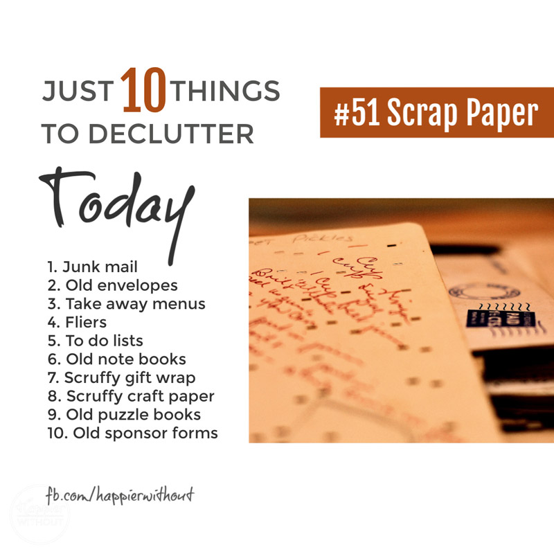 Declutter scrap paper easily so you can actually find paper that matters #declutter #clutterfreehome #organize #paperclutter