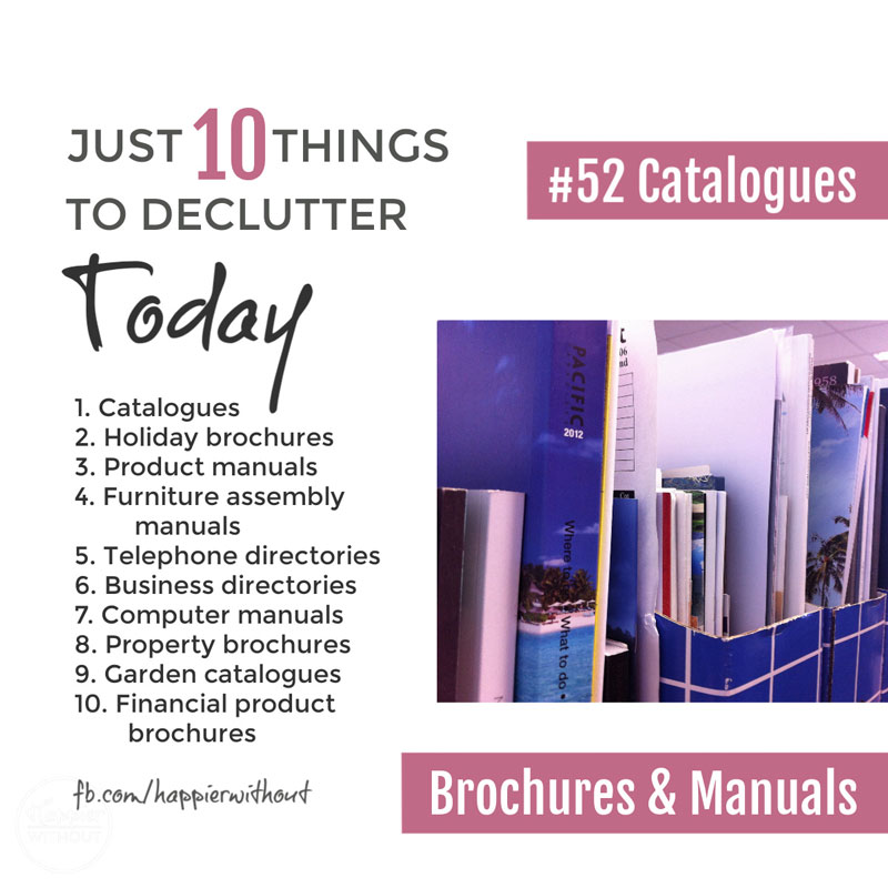 Declutter all those manuals, catalogues and brochures you just don't need #declutter #clutterfreehome #organize