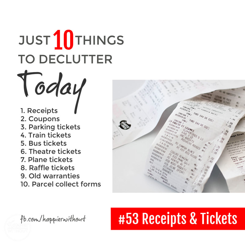 Declutter all those old tickets and receipts cluttering up your purse so you can find the paper that matters #clutterfreehome #declutter #decluttering