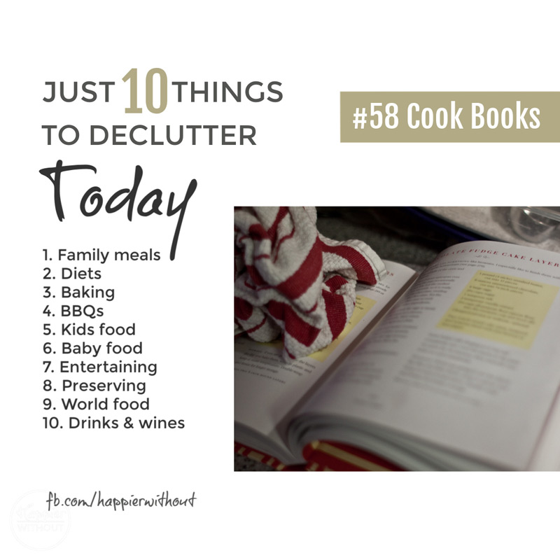 Declutter all those recipe books you haven't cooked from in years if ever #declutter #clutterfreehome #organize