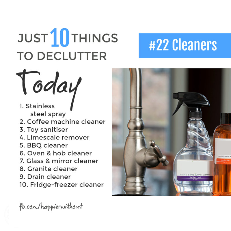 Why clutter up your kitchen cupboard with fancy cleaners you never use and just don't need. Let them go today ... #declutter #decluttering #organize #simplify #simpleliving #minimalist