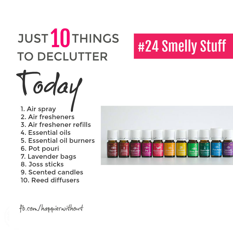 Why do we always fall for all that smell stuff? Candles, essential oils and the like. They all seem nice at first. And then just get shoved in a cupboard or draw to go horrid ... clear them out today #declutter #decluttering #organize #getorganized #organization