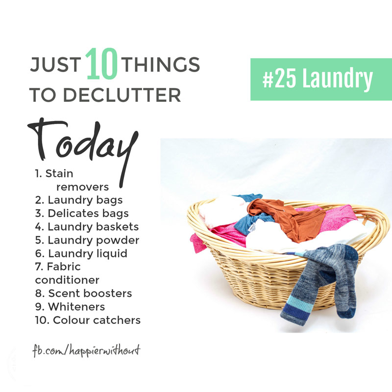 Laundry so easily takes over our whole home. And we make it even worse by buying every laundry product we can find ... never to use half of them. Declutter today ... #decluttering #laundry #organize