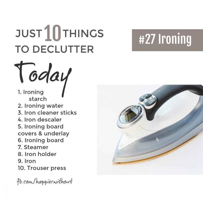 Ironing doesn't get any easier with a cupboard full of gadgets and fancy ironing sprays. Let the clutter go today ... #declutter #organize #laundry