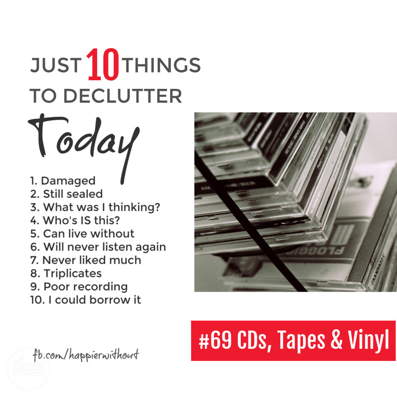 Stop clogging up your home with cd racks and cd cases and ever fancier storage solutions and declutter all that music you can listen to digitally and enjoy the space with these declutter tips and ideas #declutter #decluttering #clutterfree #space #storagesolutions
