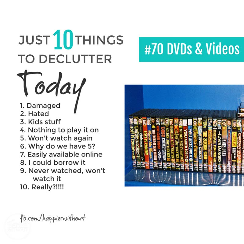 Stop trying to organize your DVDs with fancy storage solutions and let go of all the movie clutter you'll never watch again with these declutter tips #declutter #storagesolutions #storage