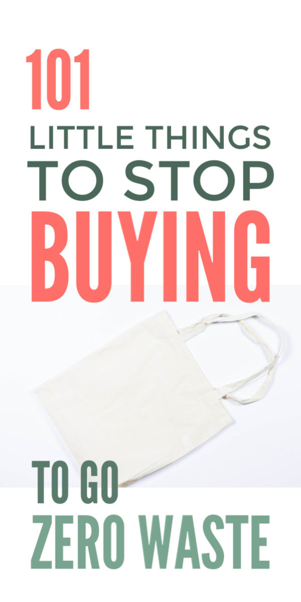 Zero waste living & lifestyle tips that are eco friendly and frugal - 101 things to stop buying to cut waste, save money, pay off debt and even declutter including cleaning, toiletries, makeup and beauty ideas and in the bathroom and kitchen #zerowaste #lesswaste #ecofriendly #greenliving #payoffdebt #declutter #frugal #frugalliving