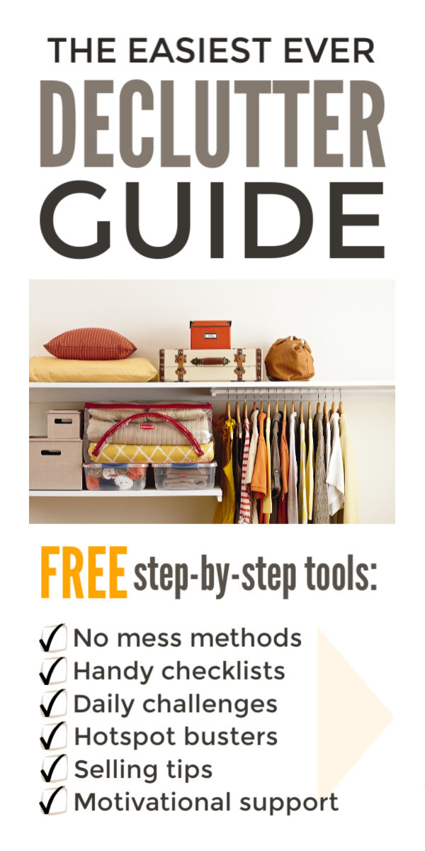 Declutter your home fast when you're feeling overwhelmed with this room by room guide to clutter free living. These step by step ideas will give you the motivation to organize bedrooms, basements, clothes, kitchens, bathrooms and closets simply without all the effort of Marie Kondo's KonMari method, and actually sell clutter and explore life changing minimalist living #declutter #decluttering #declutteryourhome #declutteringtips #declutteringahouse