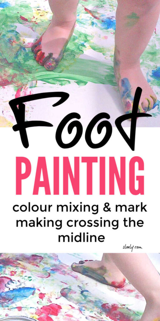 Kids Painting With Feet - Crossing the Midline and Mark Making