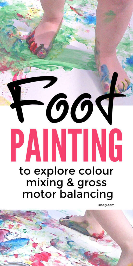 Kids painting with feet to explore colour mixing & build gross motor balancing skills