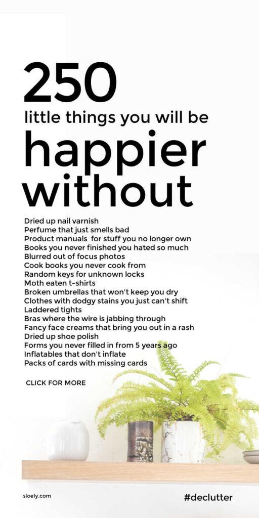Happier Without Declutter List