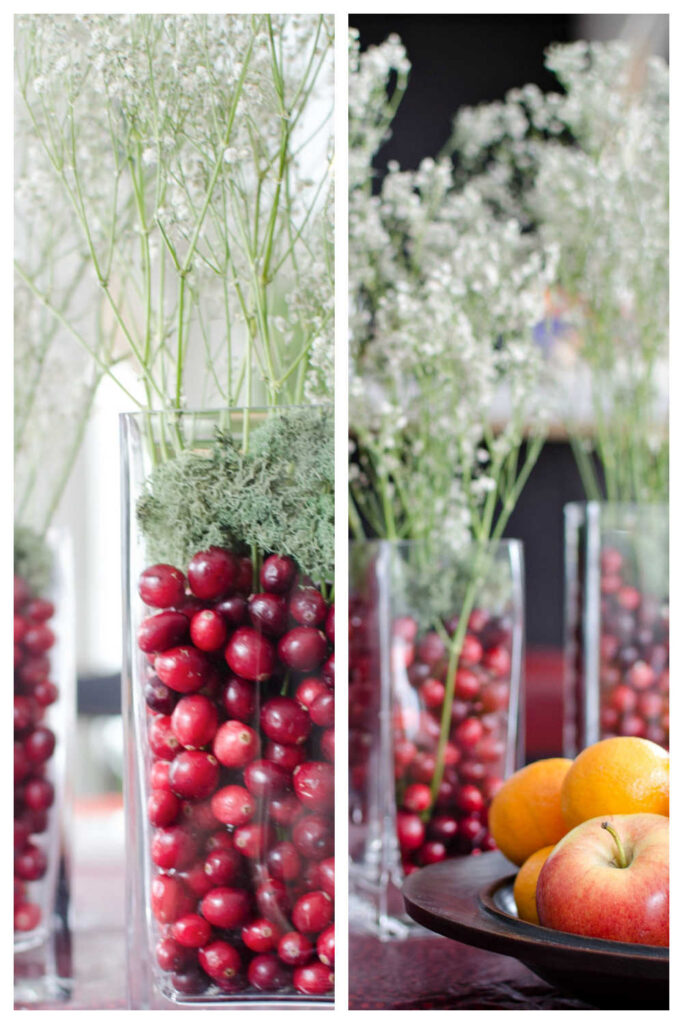 Simple Christmas Table Decorations With Cranberries