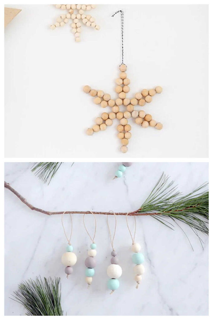 Simple Rustic Christmas Decor - Wooden Bead Ornaments